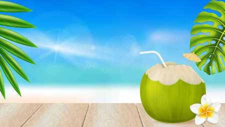 Fresh drinking coconut and a frangipani flower on a beach background. Photo-realistic vector illustration.