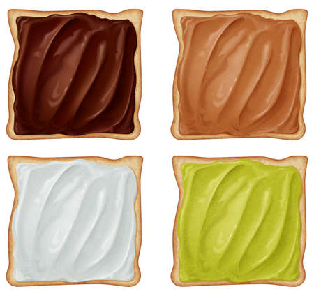 Set of toasts bread with four versions cream isolated on white background. Photo-realistic vector illustration. 向量圖像