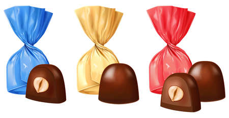Set of chocolate candies with nut filling isolated on white background. Photo-realistic vector illustration.