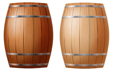 Cask in two colors isolated on white background. Photo-realistic vector illustration.