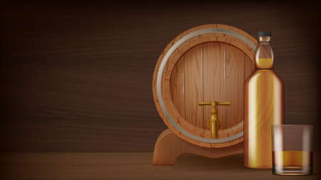 A bottle and a glass of whiskey and cask on wooden background. Photo- realistic vector illustration.
