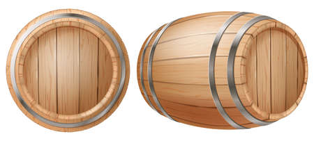 Cask in two views isolated on white background. Photo- realistic vector illustration.