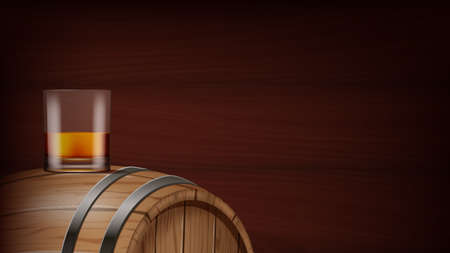 A glass of whiskey and cask on wooden background. Photo- realistic vector illustration.