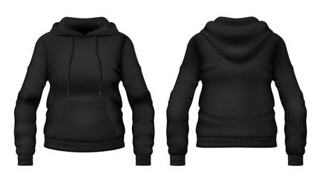 Template of blank black hoodie with pocket. Front and back views. Photo-realistic vector illustration.