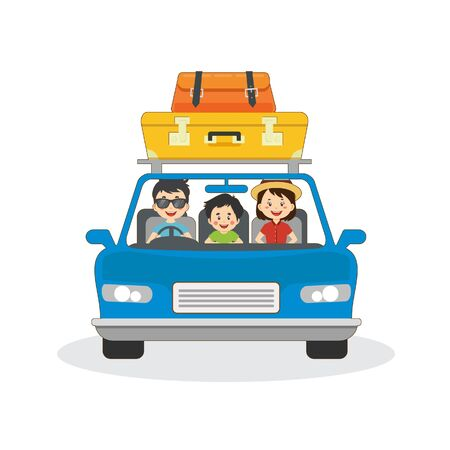 Family Travelling By Car Illustration