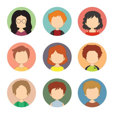 Male Female Faces Avatars User Ilustracje wektorowe
