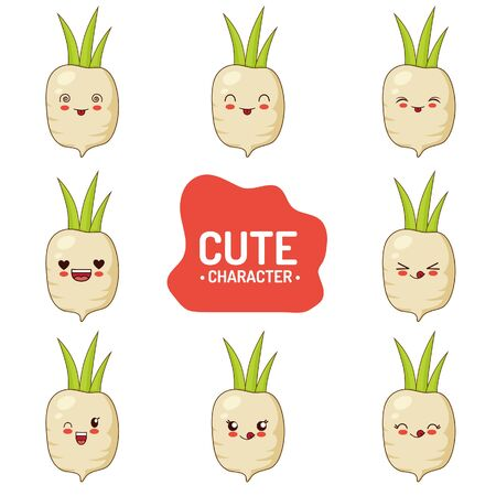 Radish Cute Character Vector Illustration