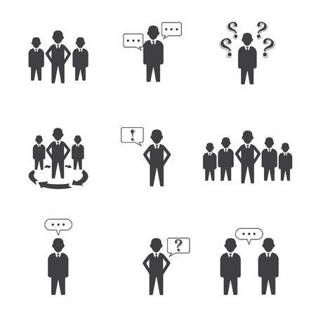 Conjunto de 9 iconos de grupo de personas simples