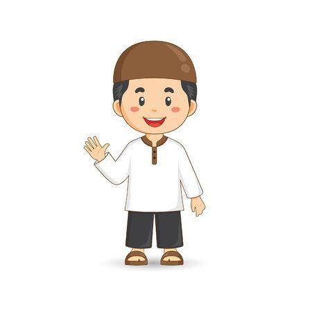 Cute Cartoon Muslim Boy On White Background