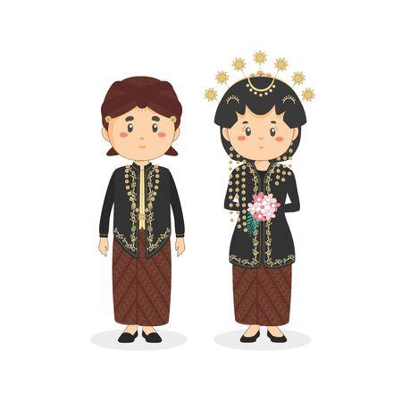 Couple Character Javanese Wearing Traditional Wedding Dress