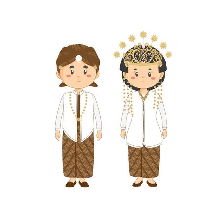 Couple Character West Java Wearing Traditional Wedding Dress
