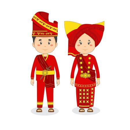 Couple Character West Sumatra Wearing Traditional Dress
