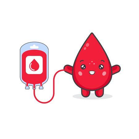 Lindos personajes de sangre y concepto de donación Ilustración de vector