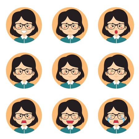 Business Woman Avatar With Various Expression Vettoriali