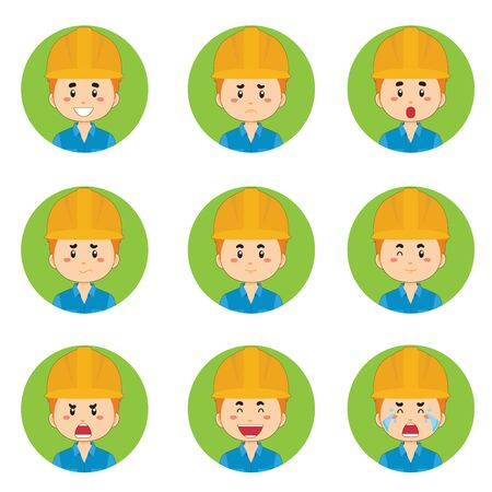 Construction Workers Avatar With Various Expression Vettoriali