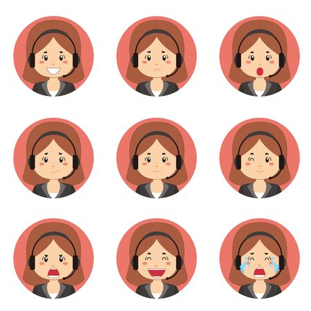 Female Customer Service Avatar With Various Expression