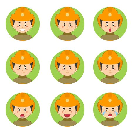 Firefighters Avatar With Various Expression Vector Illustration