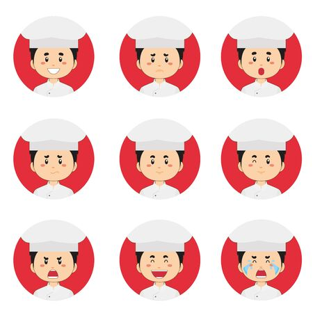 Male Chef Avatar With Various Expression Vettoriali