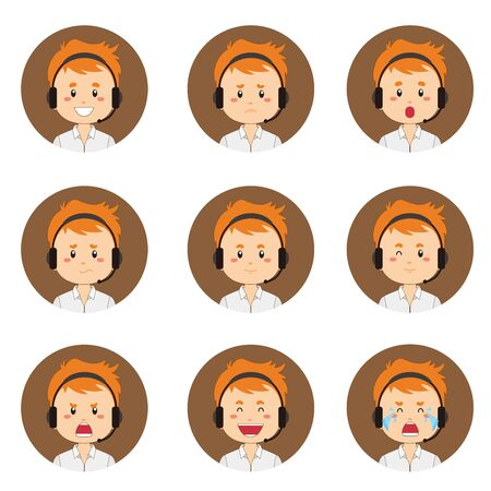 Male Customer Service Avatar With Various Expression