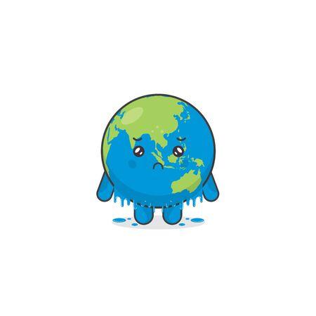 Melting Earth Character Vector Illustration 向量圖像