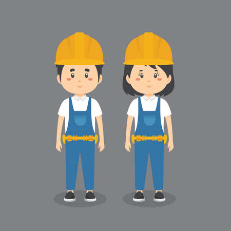 Couple Character Wearing Construction Workers Uniform for your project and others