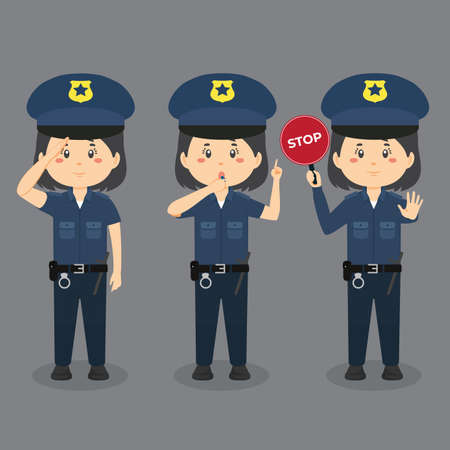 Police Character With Various Activities for your project and others