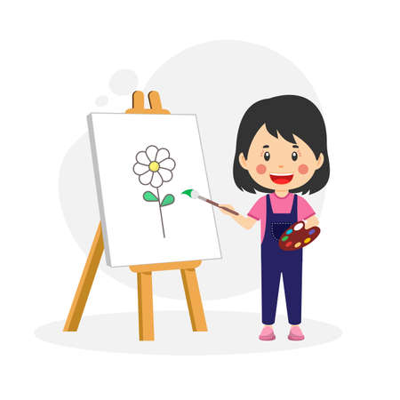 Happy Cute Kid Girl Drawing with Cheerful Expression for your project and others