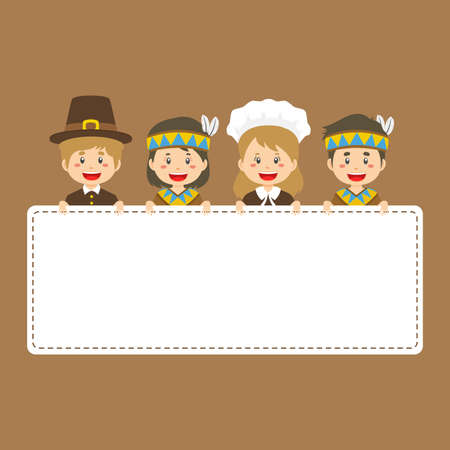 Thanksgiving Pilgrims Natives Couple Holding Empty Placard for your project and others