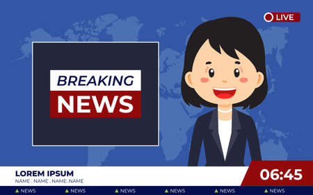 TV News Studio with Broadcaster Breaking News for your project and others