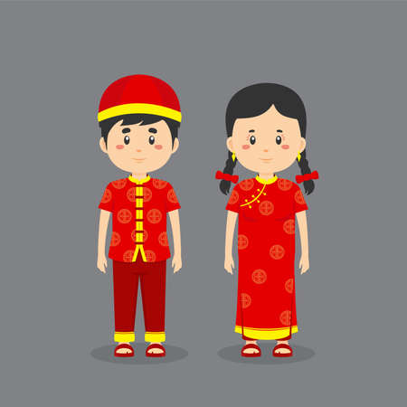 Couple Character Wearing Chinese Traditionall Dress for your project and others  イラスト・ベクター素材