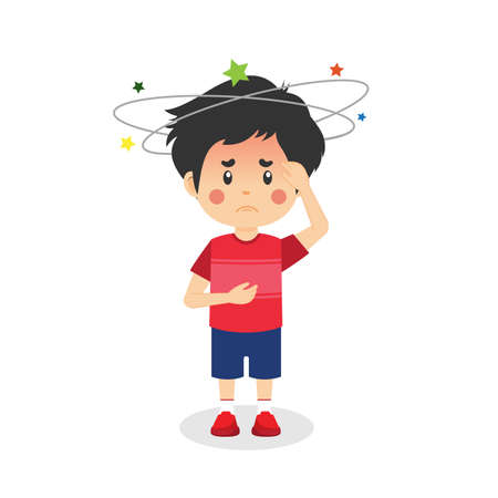 Cute Little Kid Boy Having Bad Headache for your project and others