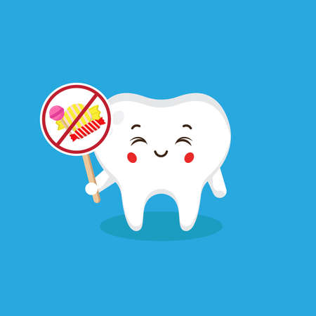 Cute Tooth Character Holding No-Eat Candy Sign for your Project and Others Stock Illustratie