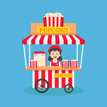 Saleswoman Sell PopCorn Booth Street for your Project and Others