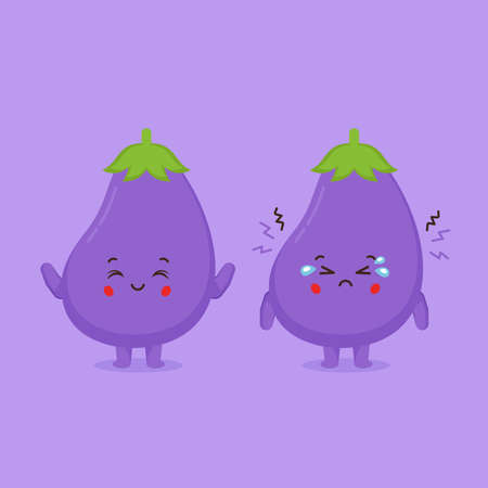 Cute Eggplant Characters Smiling and Sad for your Project and Others