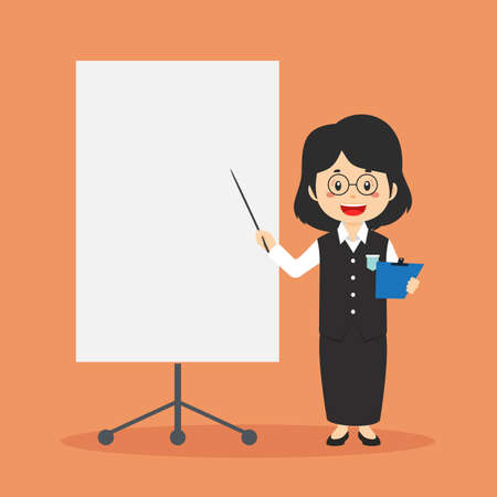 Teacher Character with Blank Board for your Project and Others