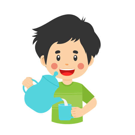 Happy Cute Boy Pour Water Glass for your Project and Others