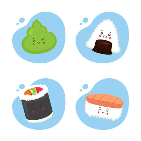 Set of 4 Kawaii Sushi for your Project and Others