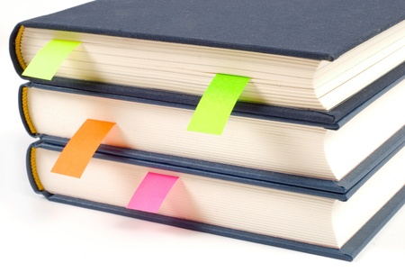 publisher: Books with bookmark isolated on white background