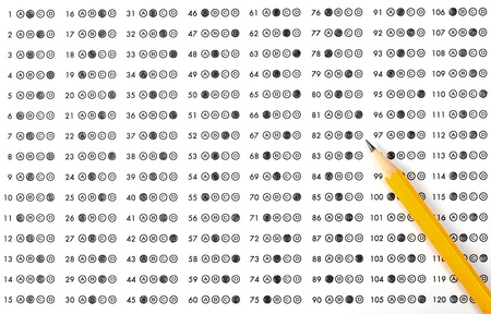 multiple choice: Test score sheet with answers