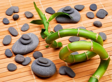 Stacked pebbles and bamboo photo