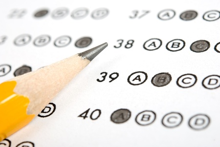 Test score sheet with answers and pencil Stock Photo - 10511637