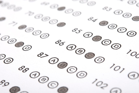multiple choice: Education. Test score sheet with answers