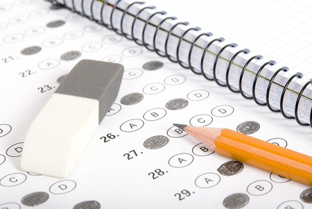 test paper: Test with pencil, notebook and eraser Stock Photo