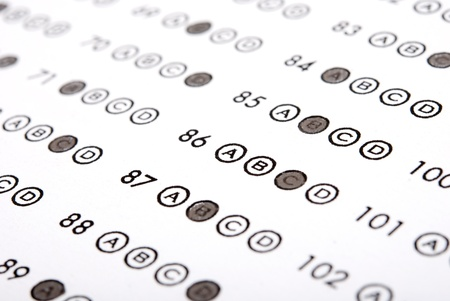Education. Test score sheet with answers Stock Photo - 10511634