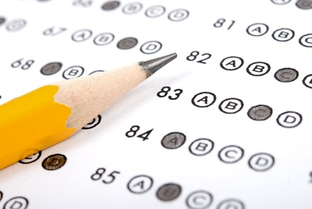 school exam: Test score sheet with answers and pencil Stock Photo