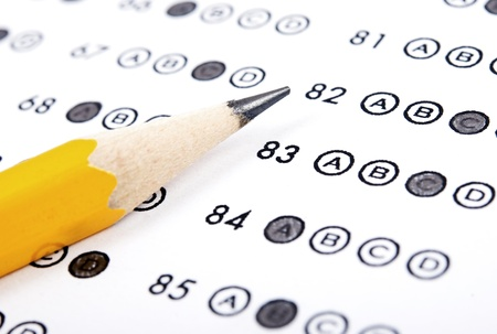 Test score sheet with answers and pencil Stock Photo - 10534786
