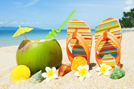 Ocean Beach with exotic coctail Stock Photo