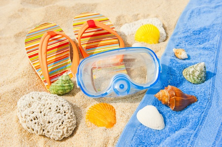 Seashells and diving mask on the beach photo