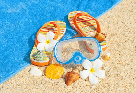 Seashells and diving mask on the beach Stock Photo