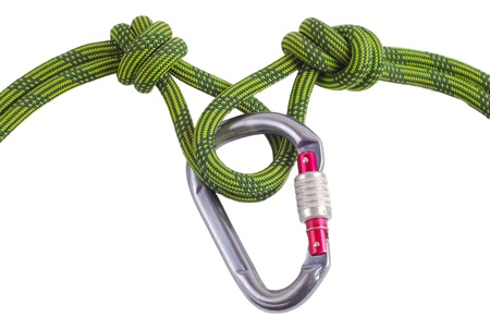 recreational climbing: Carabiner whit climbing knot isolated on white Stock Photo